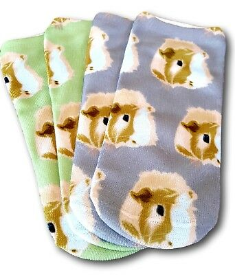 Guinea Pig Faces Ankle Sock Set by the Crazy Guinea Pig Lady Green / Slate Grey