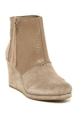 NEW TOMS Desert Platform Wedge High Booties Taupe Suede & Snake Sz 5.5