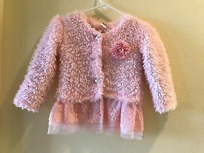 Adorable Mia Belle Baby pink fluffy sweather. Size 6-7