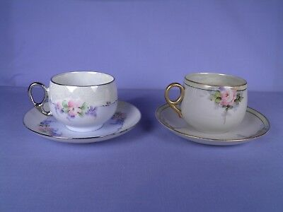 Lot of Two Beautifully Hand Painted Antique Tea Cups OHME Germany