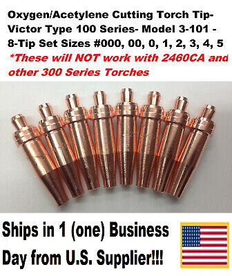 Oxygen/Acetylene Cutting Torch Tips - Victor Type 100 Series- 3-101 -8 Tip Set