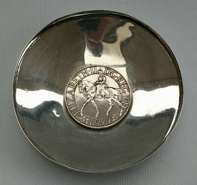 Vtg 1978 H&H Silver Coin/Pin Tray with Inset QE2 Elizabeth II Silver Jubilee 89g