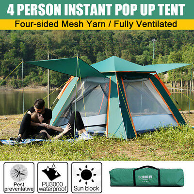 4 Person Instant Pop Up Portable Hiking Tent Travel Camping Outdoor Shelter