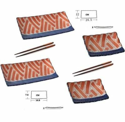 6pc Japanese Sushi Plate set Hand painting salmon 2 size & 2 pair chopsticks ♫