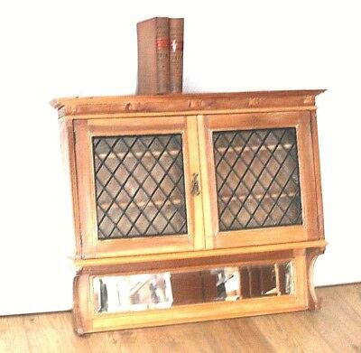 Vintage Pine Lead Glazed Wall Hanging Cabinet with Mirror [PL4404]