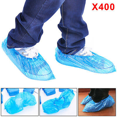 400 Disposable Plastic Blue Anti Slip Shoe Covers Cleaning Overshoes Protective