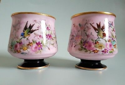 Antique French Limoges ? Porcelain Hand painted Dresser Footed Cup / Pots Birds
