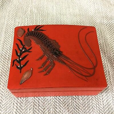 Vintage Japanese Lacquer Ware Box Lobster Shrimp Shell Wooden kodansu
