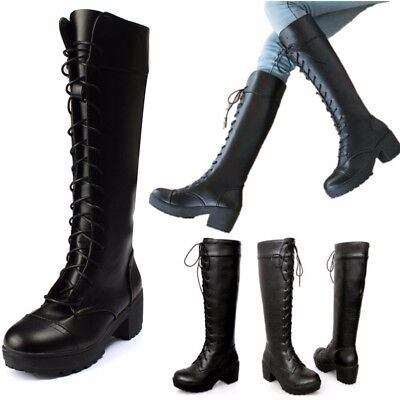 Women Leather Lace Up Over Knee High Boots Platform Martin Shoes Riding Boots