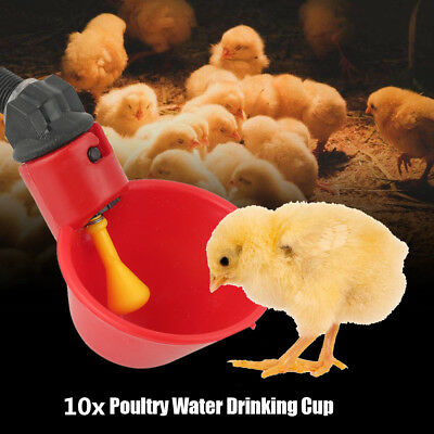 10Pcs Feed Automatic Bird Coop Poultry Chicken Fowl Drinker Water Drinking Cups