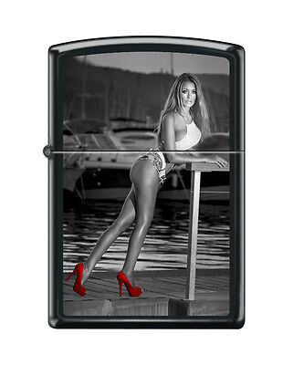 Zippo 3763, Sexy Woman on Dock-Red Shoes, Black Matte Finish Lighter, Full Size