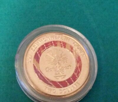 2018 $2 Dollar Unc Gold Coast Commonwealth Games Pink Coin In Capsule