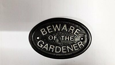 "Silver ""Beware of the Gardener"" Garden Shed/Out House Wall Plaque/Sign in Black"