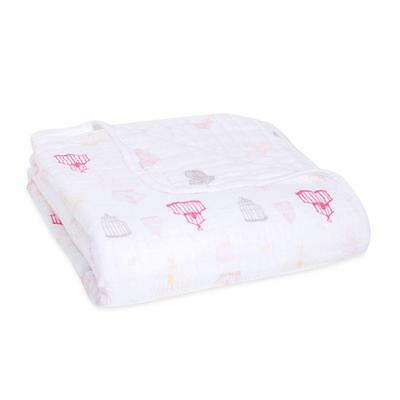 New ADEN  ANAIS 4 LAYER Muslin DREAM Blanket Lovebird birdcage Baby Girl Classic