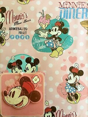 Vintage Minnie Mouse Gift Wrapping Paper XL Sheet With Tag Disney Mickey Luxury