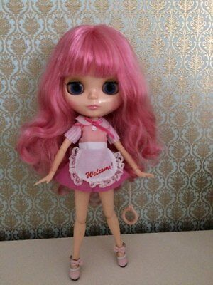"""Blythe doll long pink Hair bjd 12"""" with dress and shoes"""