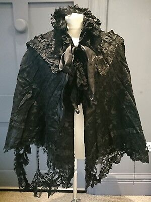 Elaborate Floral Silk 1890s / 1900s Mourning Cape - Victorian Antique Fashion