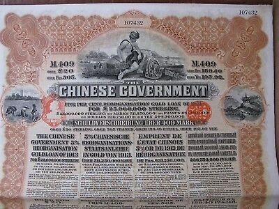 1913 CHINESE GOVERNMENT 5% £20 REORGANISATION GOLD LOAN CHINA 43 Coupons German