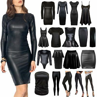 Womens Ladies Wet Look Long Sleeve Pvc Leather Dress Bodycon Tunic Top And Skirt