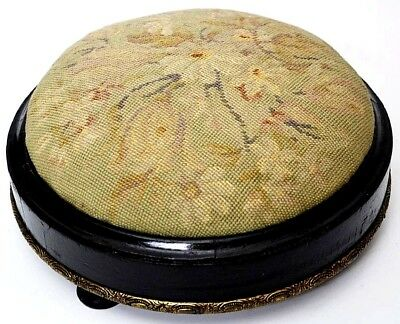 Victorian Gilt trimmed Ebonized wood Needlepoint Circular Footstool [PL2500]