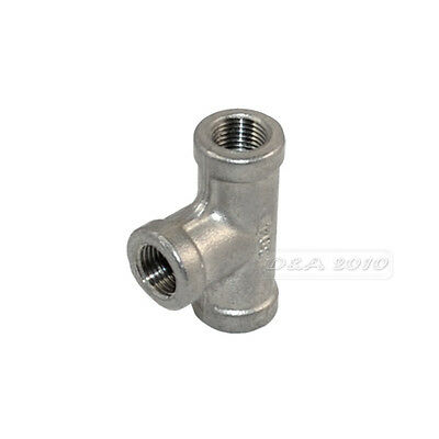 """1/8"""" Tee 3 way 3 Ports Female Stainless Steel 304 Threaded Pipe Fits NPT 150 PSI"""