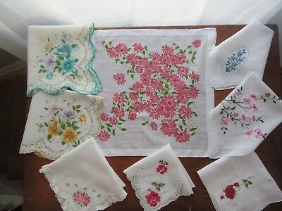 8 Vintage Handkerchiefs Hankies, Wedding Floral Embroidered Scalloped. Pretty!