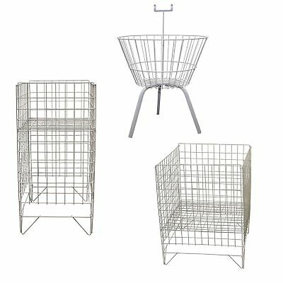 Square Round Wire Dump Retail Basket Bins Stand Sale Storage Unit Shop Display