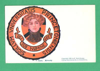 1905 F. Earl Christy College Girl Postcard Princeton University College Seal