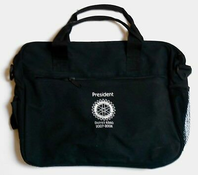 "New !5.5"" x 12"" x 3"" 2007-08  RotaryPresident District 6560 Blk Fabric Briefcase"