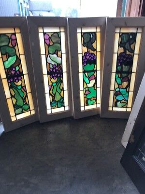 Sg 2265  4 Price each antique jeweled grape stained glass transom window …