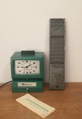 Acroprint Manuel time recorder 125AR3 with key, time cards, And Card Holder