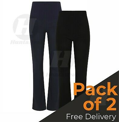 New Ladies Pack Of 2 Elastic Waist Bootleg Stretch Ribbed Pull On Trousers Plus