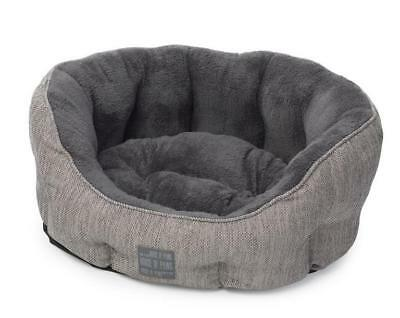 House of Paws pet bed Hessian Bolster Cushion in Grey 65cm W x 55cm Dx 23cm H