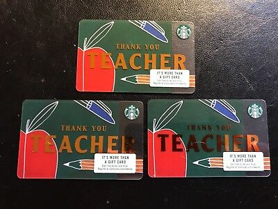 Lot of 3 NEW STARBUCKS 2018 THANK YOU TEACHER GIFT CARDS