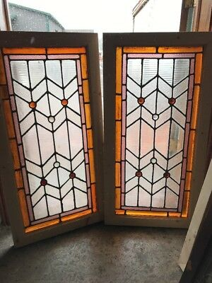 SG 2267 matched pair antique jeweled Stainglass textured windows 21/8 x 39.5