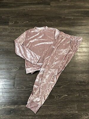 Womens Pink Velvet Top And Pants 2 Piece Outfit Set