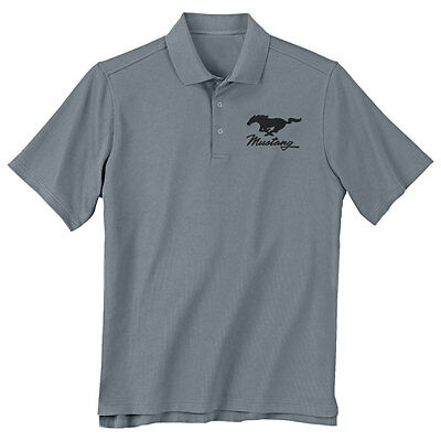 Mustang Gifts Large Gray Running Horse Polo Shirt | CJ Pony