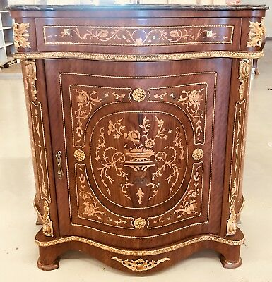 Marble Topped Commode Louis xv Victorian Style With Brass decorations, marquetry