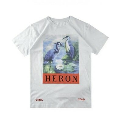 2018 NWT Heron Preston Black Heron T-shirts Tee Short Sleeve Casual Shirt