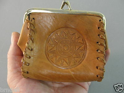 Hand Tooled Leather Coin Purse Pouch Costa Rica Hummingbird Vintage Souvenir