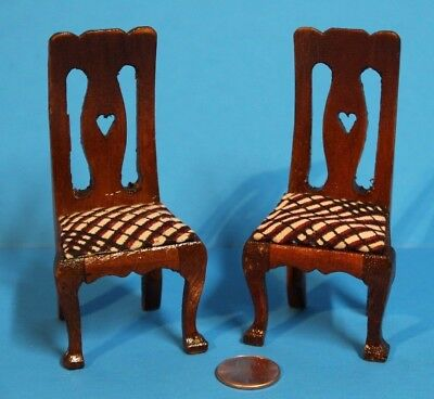 "% A.e. Price Dollhouse Wood Furniture ""Pair Of Chairs With Fabric"" Nice Piece"