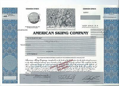 American Skiing stock certificate 2004 skiers Sugarloaf TheCanyons Wolf Mountain