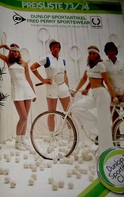 FRED PERRY 1974 TRUE VINTAGE DUNLOP Catalogue ADVERTISING Tennis Polo Sport