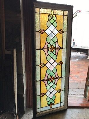 SG 2277 antique stained glass beveled glass transom window 22 3/8 x 60.5
