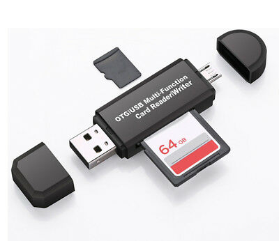Micro USB to USB OTG SD/Micro SD Card Reader for Smartphones, Tablets, PCs