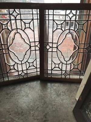 SG 2279 patch pair antique all beveled glass windows 23.25 x 31.5