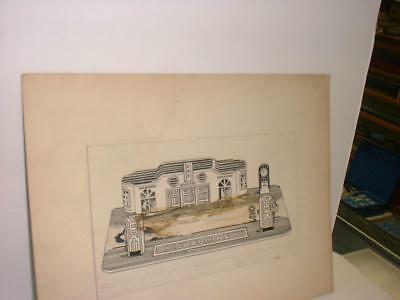 Marx Toy Art Work For Tin Roadside Gas Station  / All Hand Done Prototype 1940S