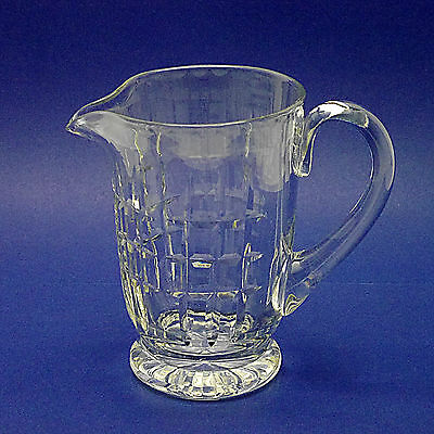 "Large Footed Cut Crystal Glass Jug - 19cm/7.5"" High"