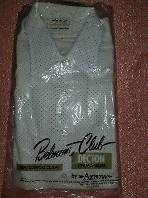 Vintage NEW OLD STOCK Arrow 'Belmont Club' Shirt 16-34 White /Black Dots