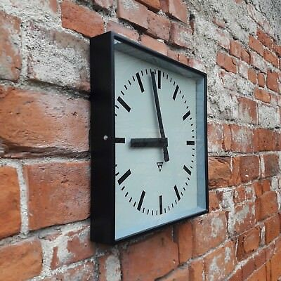 "LARGE 44cm (18"") INDUSTRIAL STATION WALL CLOCK FROM COMMUNIST ERA CZECHOSLOVAKIA"